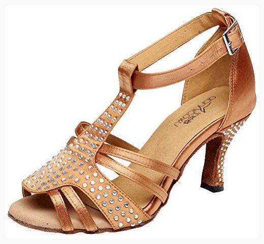 c3cb9570488f Abby Womens Latin Salsa Tango Cha-Cha Party Mid Heel T-bar Peep-toe ...