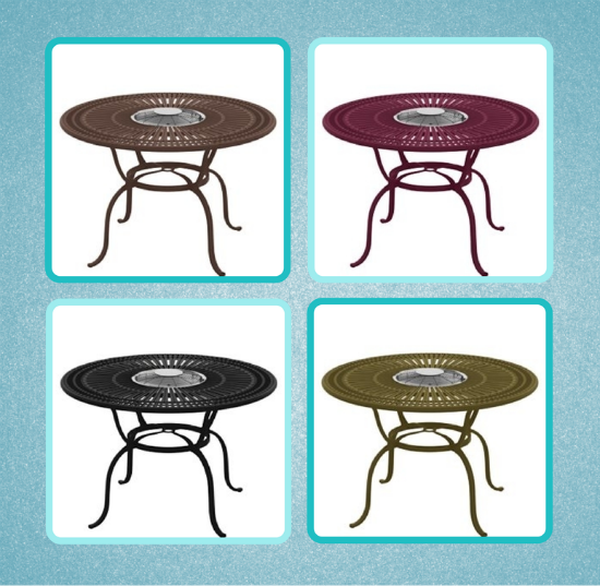 Four Finishes For The 55u201d Counter Height Charcoal Fire Table By Tropitone.  Top Left