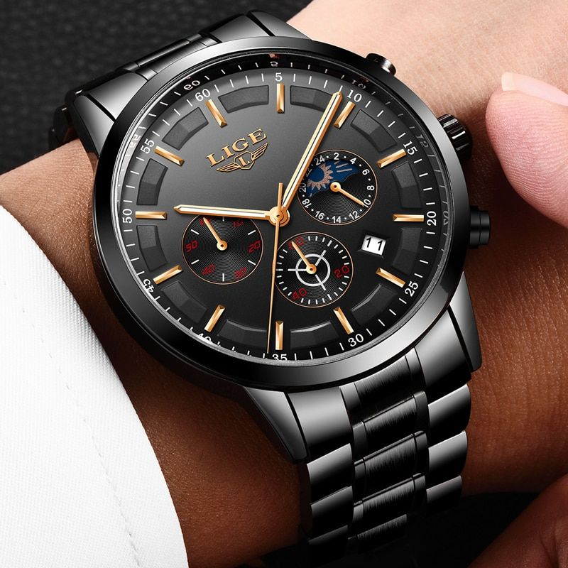2020 LIGE Men Watch Fashion Quartz Watch Mens Top Brand Luxury All Steel Business Waterproof Sport Watch Relogio Masculino+BOX