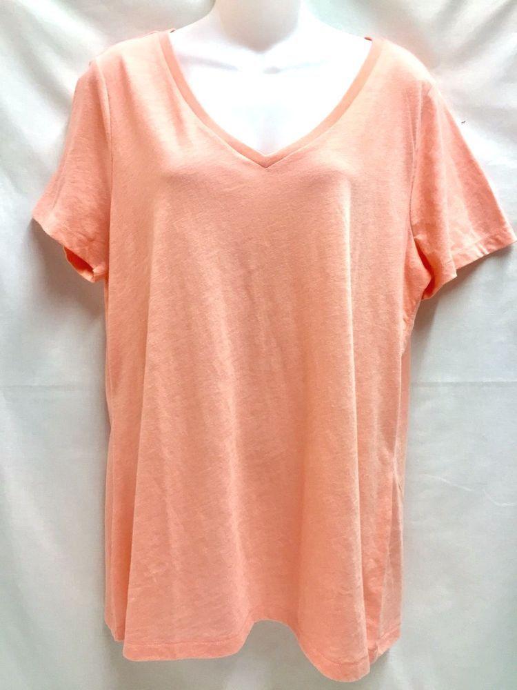 f624ed01 Sonoma Women's Every Day Tee Short Sleeved V Neck T Shirt XL Peach NEW # Sonoma #TShirt