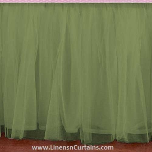 Any Size Sage Green Tulle Bed Skirt Dust Ruffle Velcro Detachable Queen Full Twin Xl Cal King Daybed Extra Long Split Corner Bedskirt Ruffle Crib Skirt Green Tulle