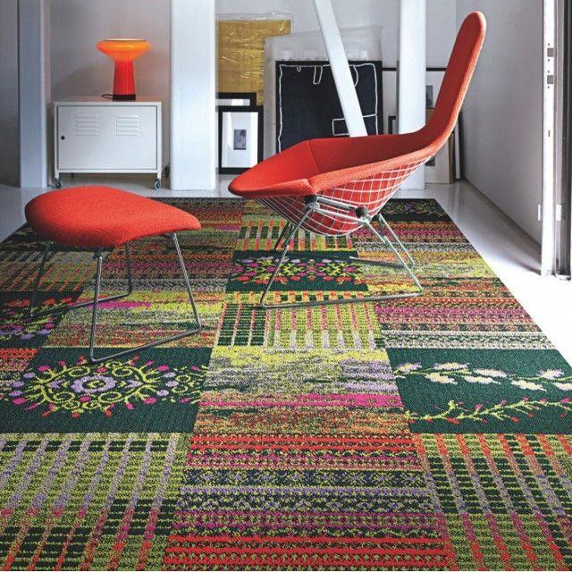 Cut Flowers Carpet Tile In Geranium Contemporary Carpet Tiles Carpet Floor Tiles