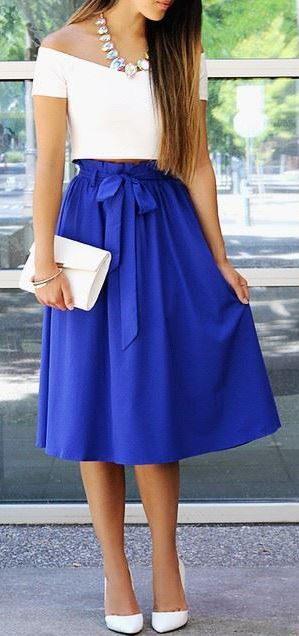 Do Or Tie Royal Blue Midi Skirt | Royal blue, Midi skirts and In