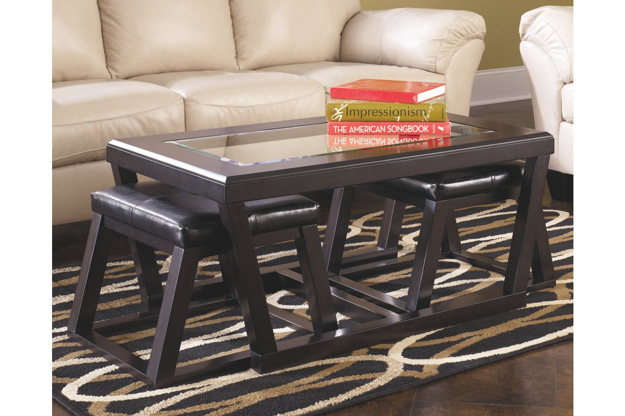 Kelton Coffee Table With Nesting Stools Ashley Furniture Homestore Coffee Table With Stools Ashley Furniture Furniture