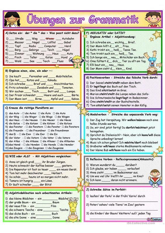 Grammatik_Ãœbung&Wiederholung 2 | lernen | Pinterest | Wiederholung ...