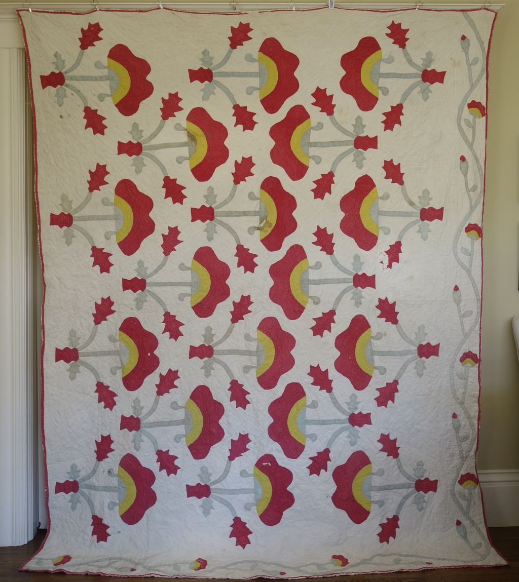 Applique Quilt Joyous with lots going on! 1800's, Cow Hollow Collectibles, Ruby Lane