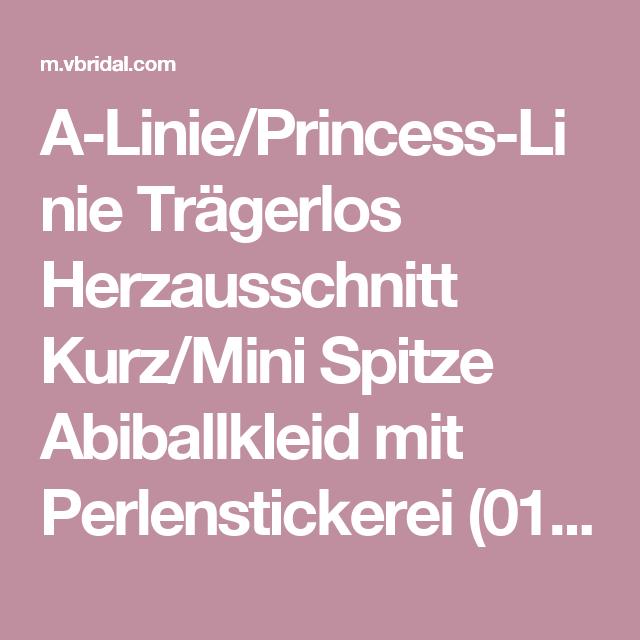 A-Linie/Princess-Linie Trägerlos Herzausschnitt Kurz/Mini Spitze Abiballkleid mit Perlenstickerei (0185057862) - mvbridal