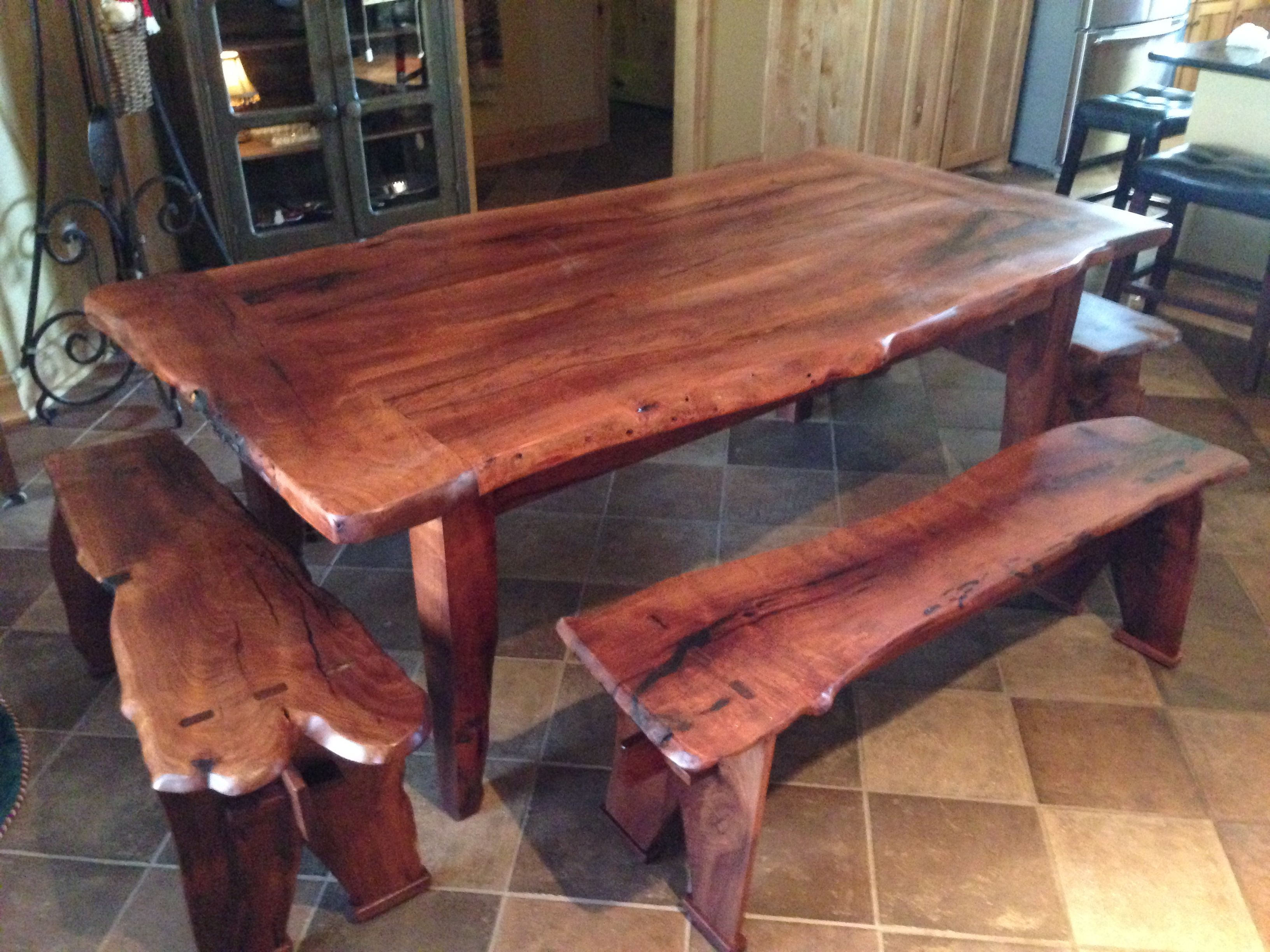 Mesquite Live Edge Table And Benches Made From Single Mesquite