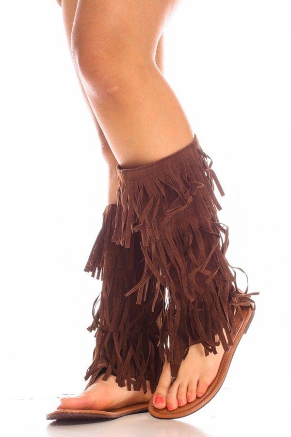 8f44b0fb36d91e Brown faux suede fringe trim tier thong flat sandals