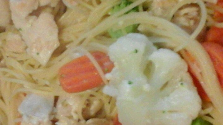 Sauteed chicken breast stir fried with carrots, broccoli and garlic then simmered in broth with basil and Parmesan cheese. This mixture tops a bed of angel hair pasta for a springtime favorite.