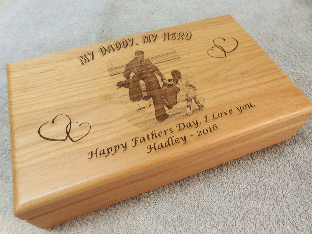 Keepsake Wedding Gifts: Unique Fathers-day-gift. Laser Engraved Keepsake Box
