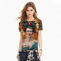 2016 new summer tops 3D printed sexy lady painting Tshirt women plus size cat design couple Tees o-neck short sleeve T-shirt