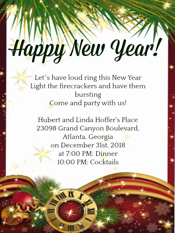new year party invitation template fresh new year party