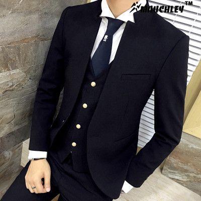 Classic Chinese Collar Men Suit 3pcs Set Slim Fit Wedding