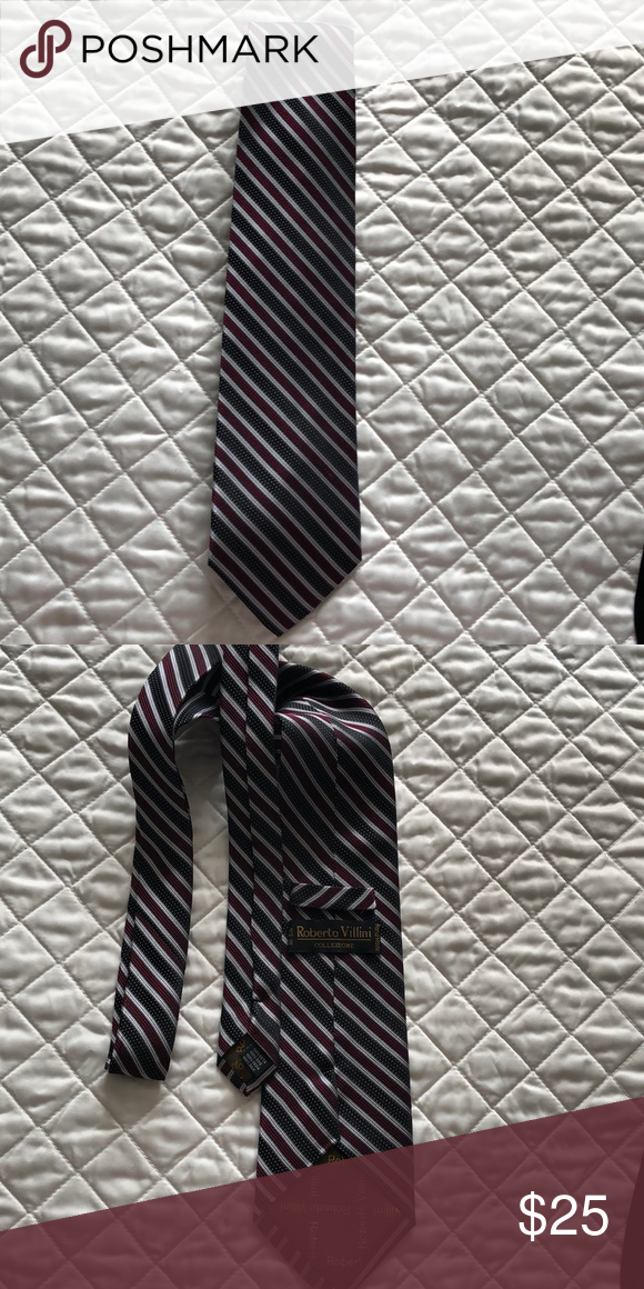 b6e39b8b995c Roberto Villini silk tie Burgundy and black striped tie with corresponding  black and white polka dot pattern. Very gently used and in great condition.
