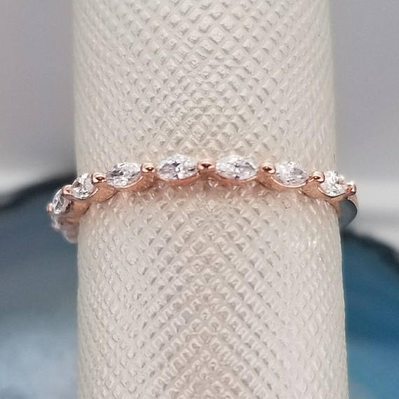 10k Solid Rose Gold Marquise Diamond Stackable Wedding Band