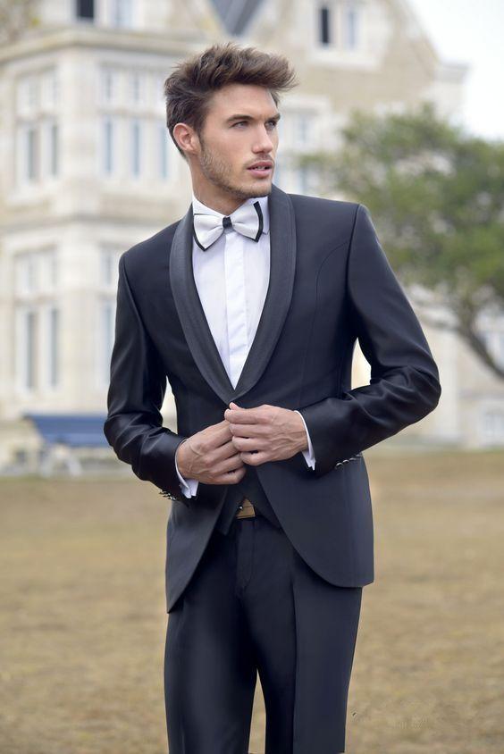 2017 Latest Coat Pant Designs Black Satin Shawl Lapel Formal Men ...