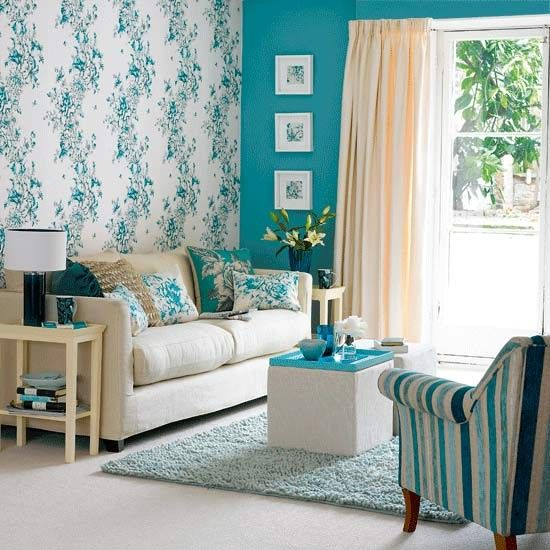 High Quality Feature Wall Living Room Wallpaper In Bold Teal And Parchment Pattern Is  The Starting Point For. Living Room IdeasSmall ...