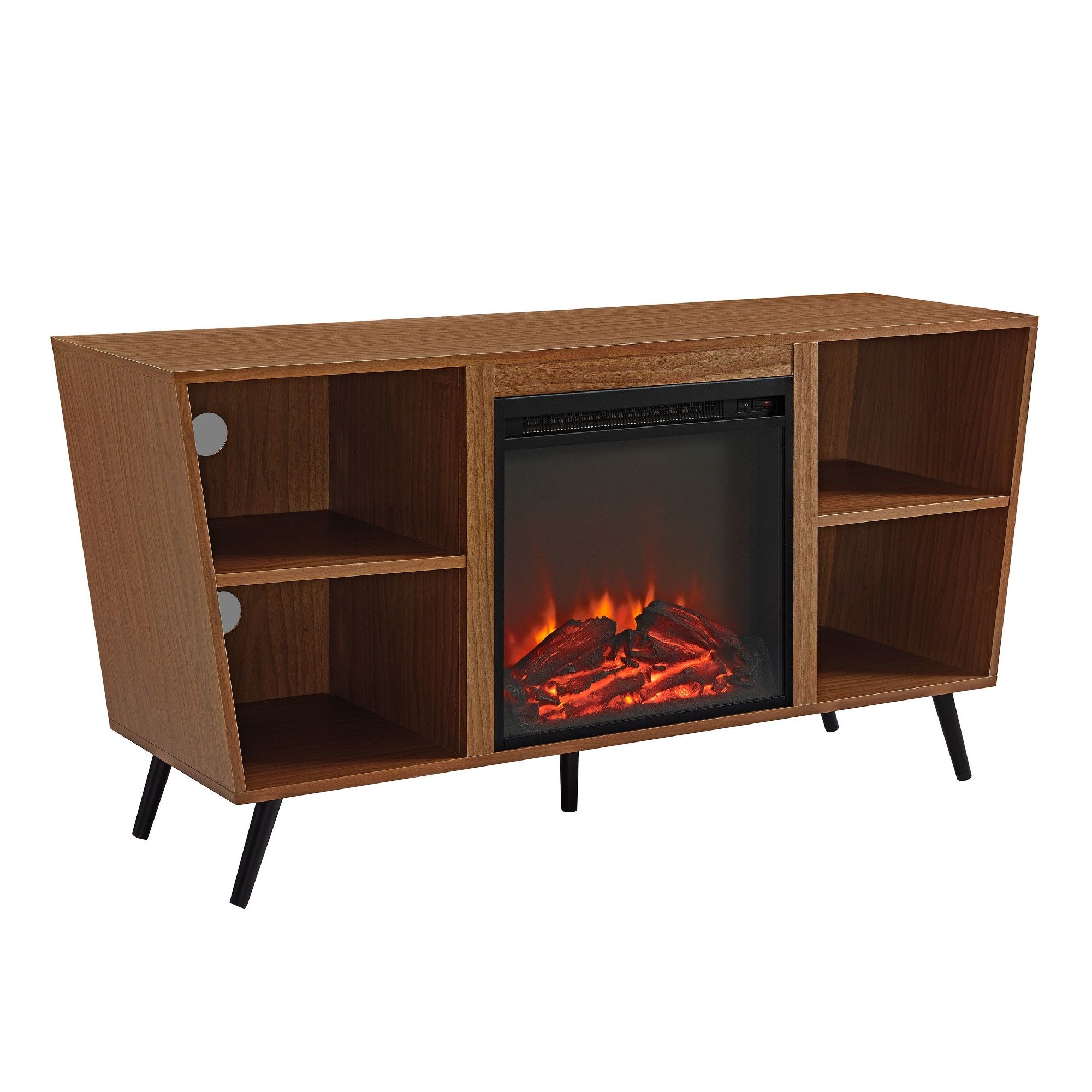 52 angled side fireplace console with metal legs acorn saracina