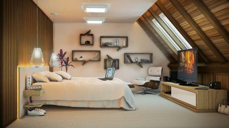Wohnidee für ein Schlafzimmer mit Dachschräge Schlafzimmer - wohnideen fur schlafzimmer designs