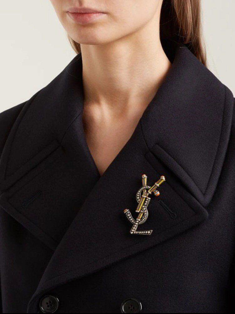 11a3c0431bd Authentic Vintage Yves Saint Laurent YSL Enamel pin Large Brooch in ...