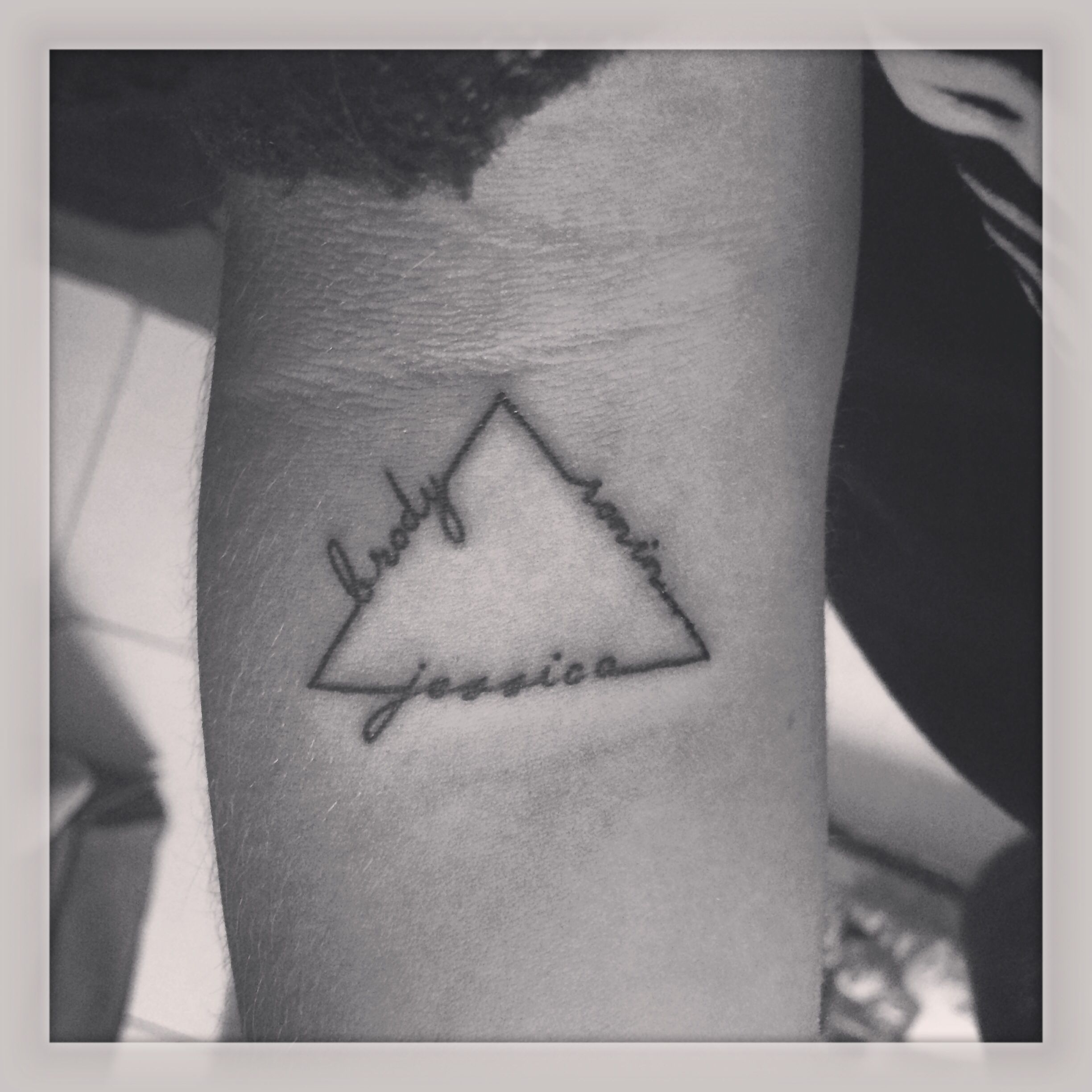 Triangle tattoo of my two siblings names and mine tattoo inspo triangle tattoo of my two siblings names and mine biocorpaavc Choice Image