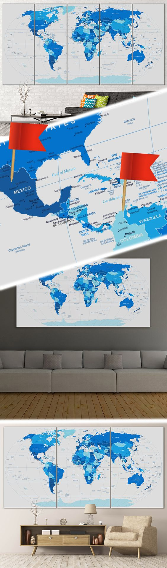 Blue world map 102 wrapped canvas office walls and wall blue world map 102 gumiabroncs Gallery