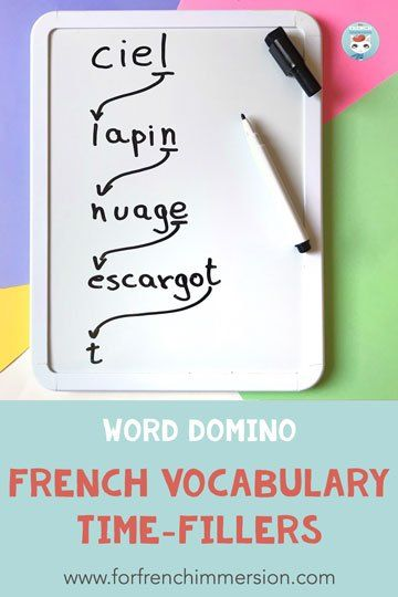 French Vocabulary Time-fillers - For French Immersion