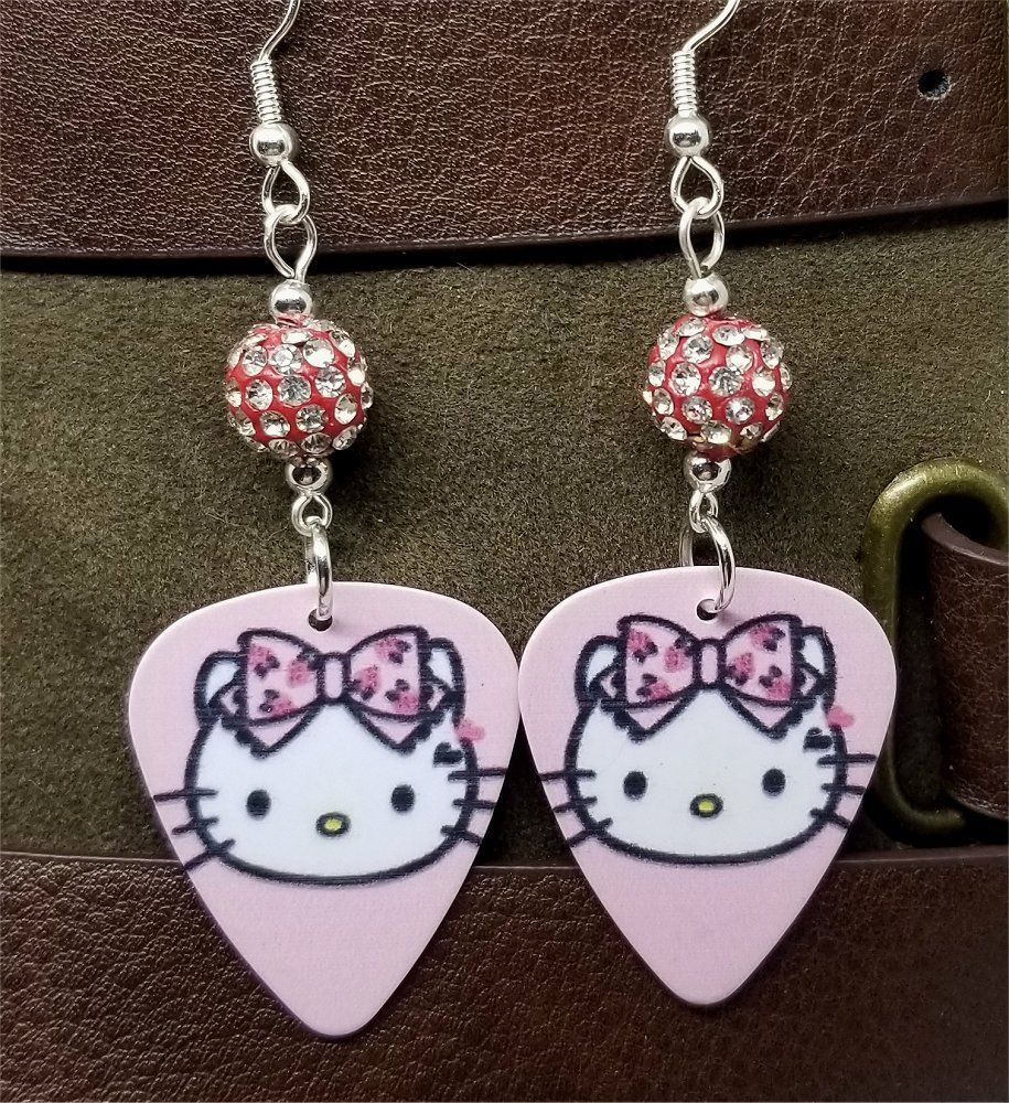 95f8643ff Pink Hello Kitty Guitar Pick Earrings with Pink and White Pave Beads # Handmade #DropDangle