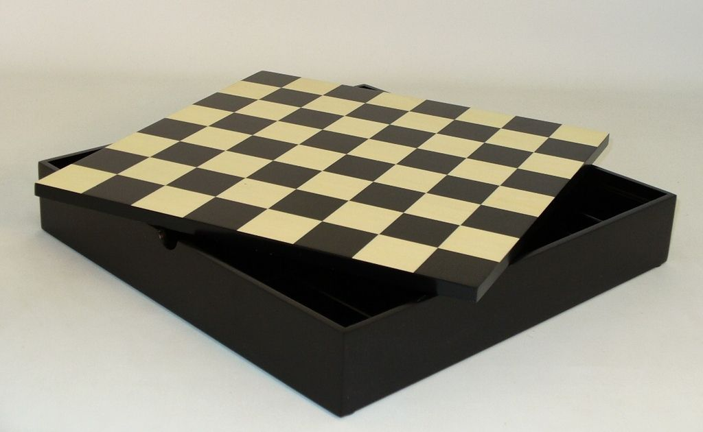 """Awesomely economical and convenient!The Game Supply - 12"""" Black/Maple Veneer Chest - 1.5"""" Squares, $56.95 (http://www.thegamesupply.com/12-black-maple-veneer-chest-1-5-squares/) #chessboardwithstorage"""