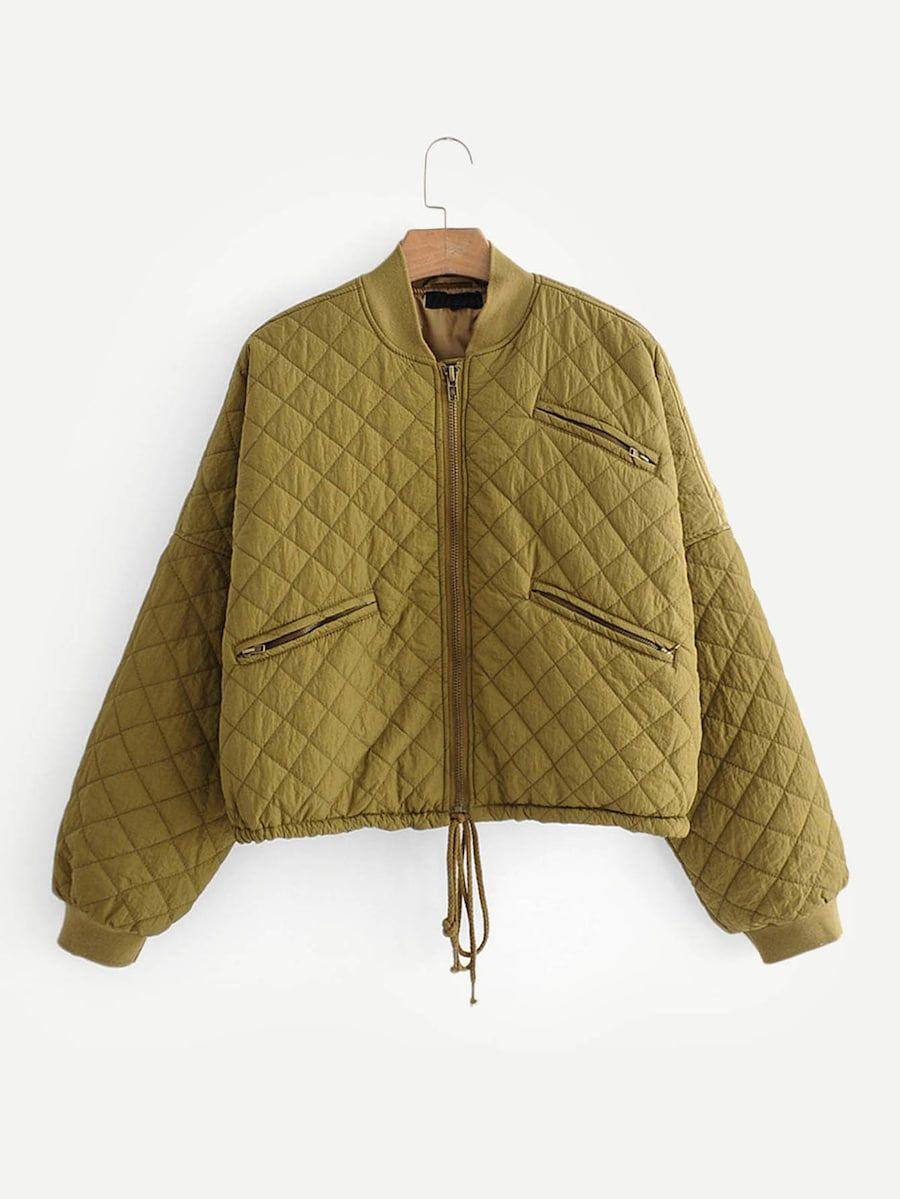 Drop Shoulder Drawstring Hem Quilted Jacket Shein Sheinside In 2020 Jackets Quilted Jacket Clothes