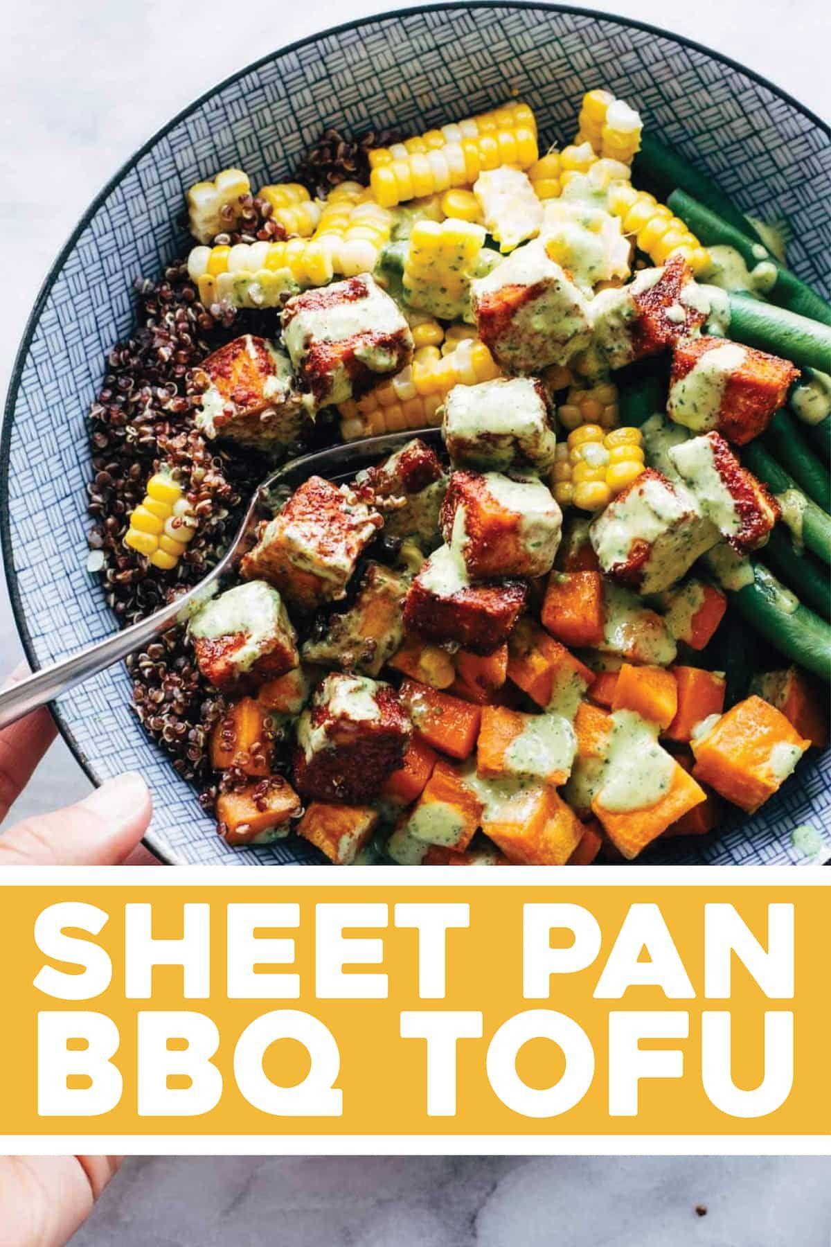 Sheet Pan Bbq Tofu Pinch Of Yum Recipe Bbq Tofu Recipes Sheet Pan Recipes
