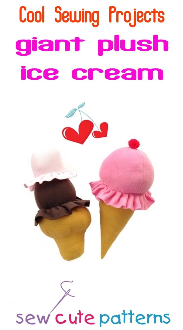 Cool sewing projects fun ice cream pattern includes instructions cool sewing projects fun ice cream pattern includes instructions and pattern pieces to make a giant 22 single or double scoop plush ice cream cone jeuxipadfo Images