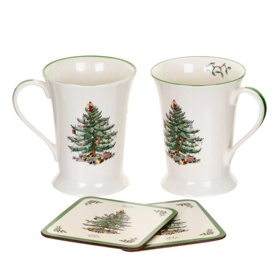 Spode Mugs Christmas Tree Mugs Amp Coasters Set Of 2