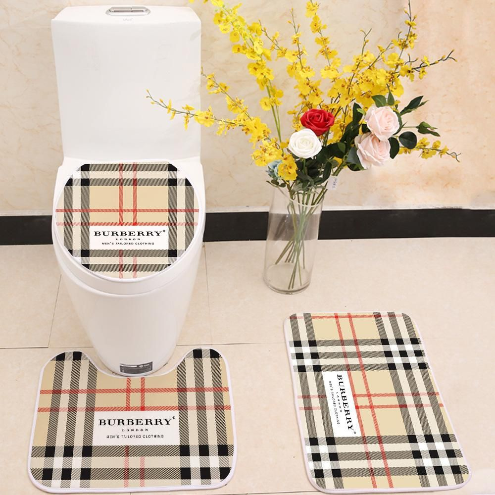 Astounding Burberry Logo Floor Carpet Toilet Rug Lid Cover 3 Piece Bath Gmtry Best Dining Table And Chair Ideas Images Gmtryco