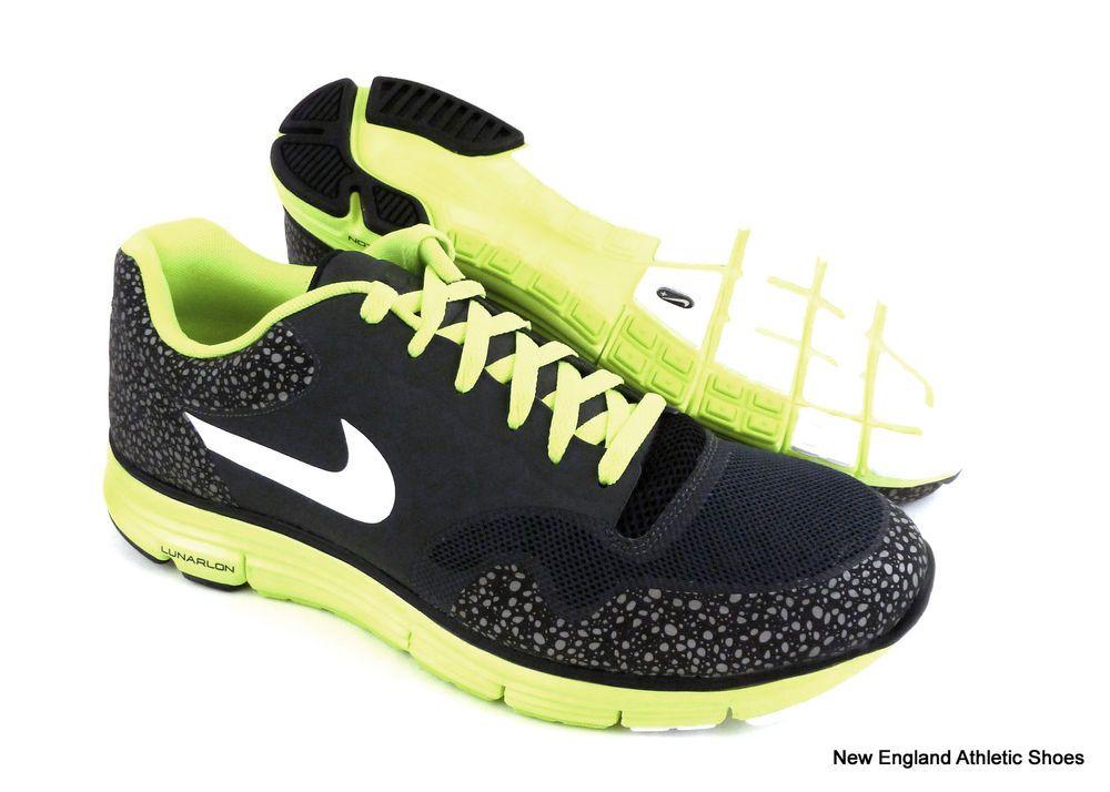 Nike men Lunar Safari Fuse+ running shoes size 11.5 - Anthracite / Volt /  Black #