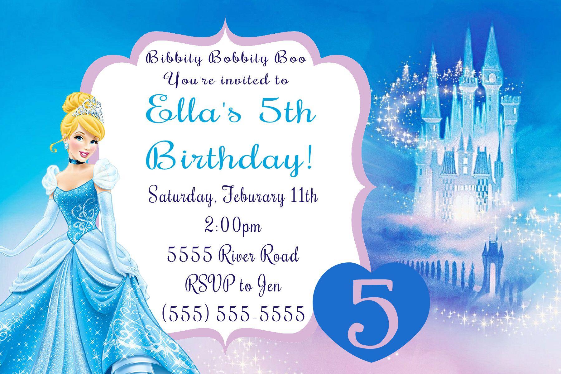 Cinderella Birthday Invitation- Click on the image twice to place ...