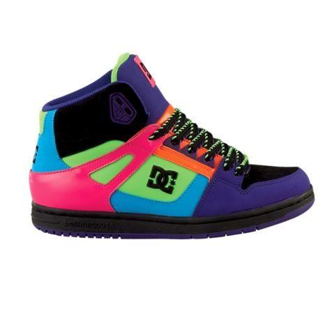 Womens Dc Rebound Hi Skate Shoe Black Pink Multi