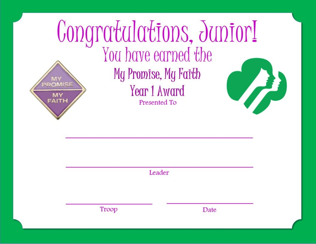junior my promise my faith year 1 award certificate junior girl scouts pinterest. Black Bedroom Furniture Sets. Home Design Ideas