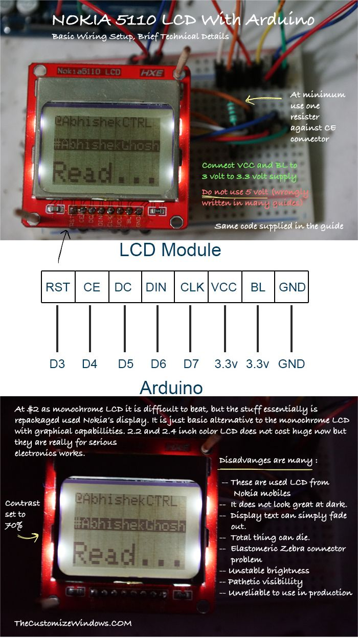 Nokia 5110 Arduino Wiring Technical Details Basic Lcd Various With And 3 Example Codes Supplied