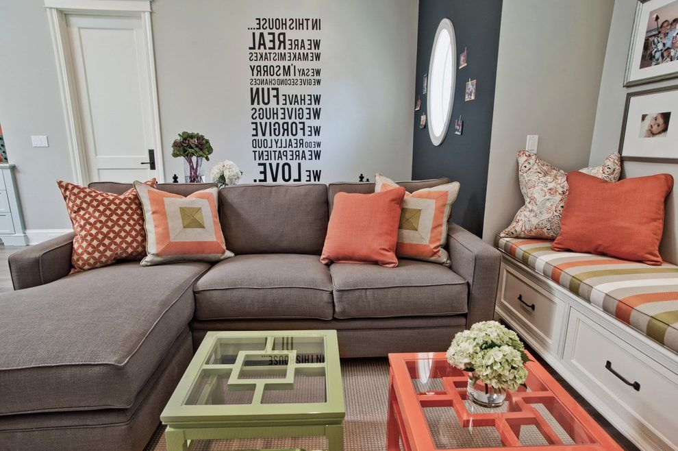 Coral living room ideas living room contemporary with green and ...