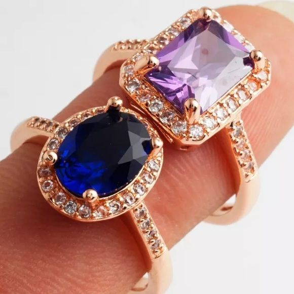 Purple Rose Gold Emerald Cut Ring 18k rose gold filled ring. Very pretty.  *the blue ring is a separate listing FIRM PRICE/NO TRADES❗️(cheaper on ♏️) Jewelry Rings