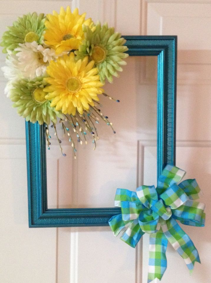 Spring Wreath I Made From An Old Picture Frame Wreaths Pinterest