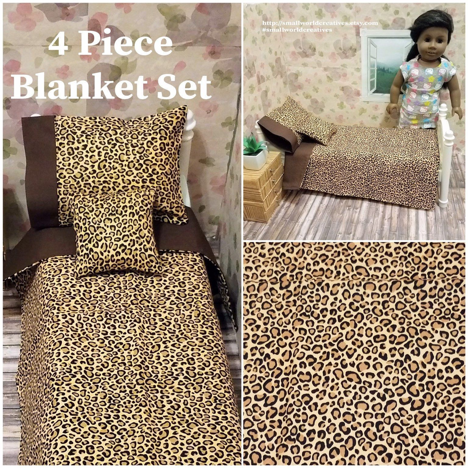 American Girl 5 Piece Reversible Leopard Animal Print Bed Set/18 Inch Doll Bedding #bearbedpillowdolls American Girl 5 Piece Reversible Leopard Animal Print Bed Set/18 Inch Doll Bedding by SmallWorldCreatives on Etsy #bearbedpillowdolls