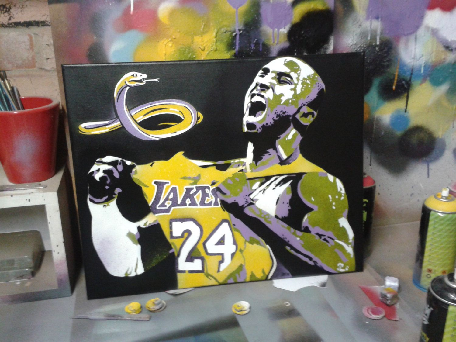 Kobe Bryant Stencil Art Painting On Canvas Black Mamba Basketball