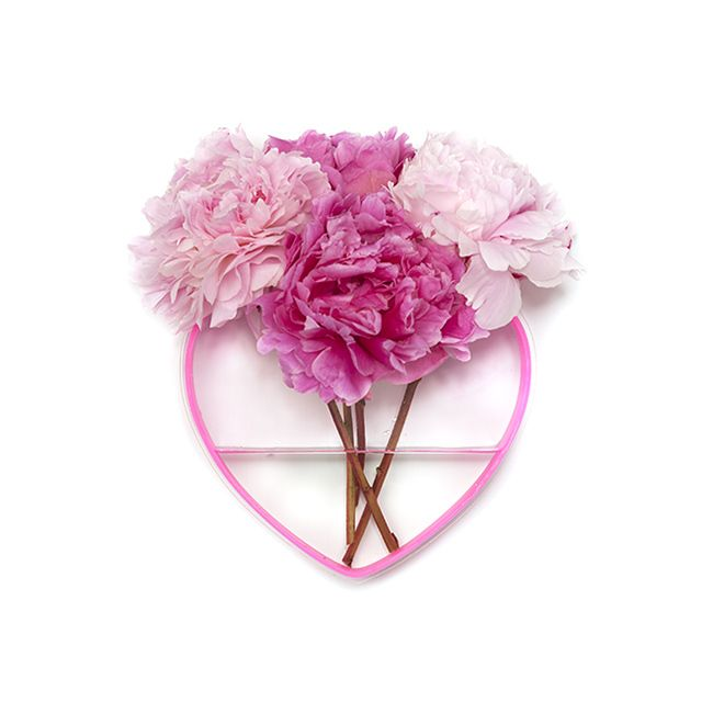 Image of Queen of Hearts peony pink/clear heart vase