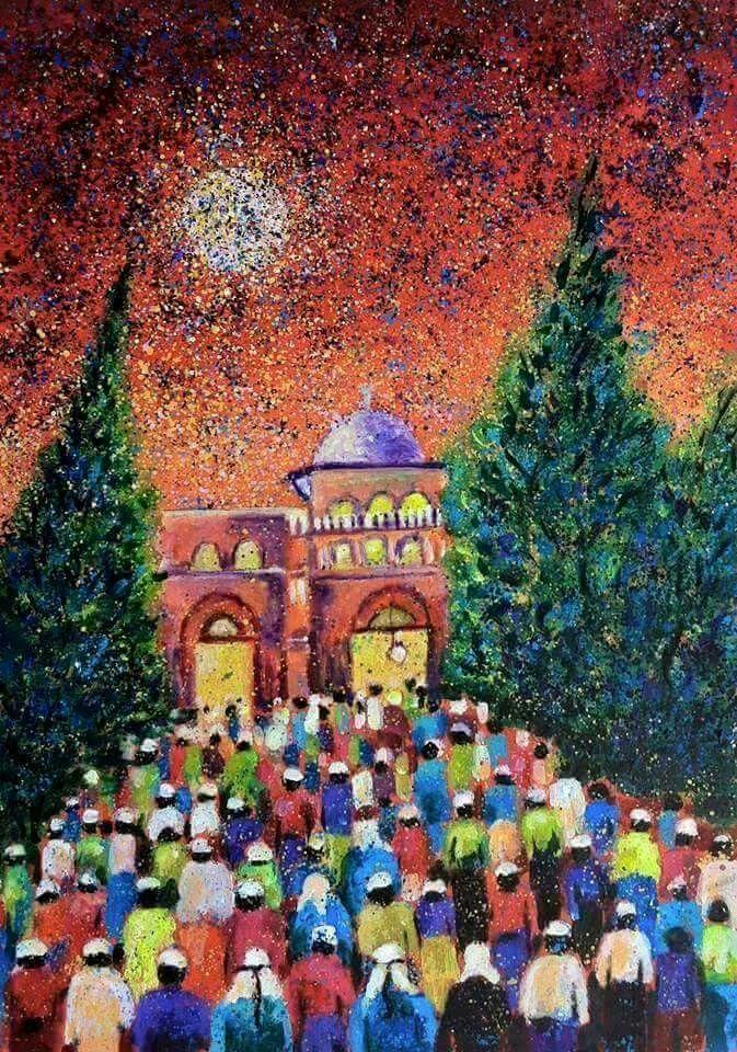 لوحة بمناسبة ذكرى المولد النبوي الشريف للفنان طالب الدويك