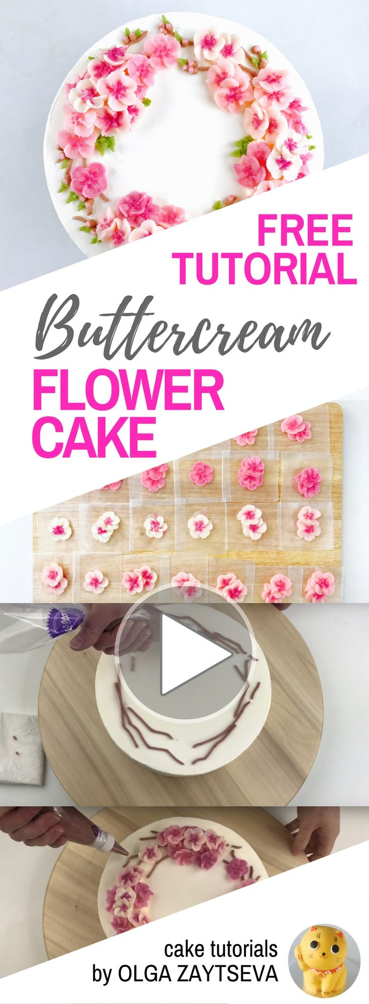 HOT CAKE TRENDS How to make Cherry Blossom buttercream flower wreath cake - Cake decorating tutorial by Olga Zaytseva. Learn how to pipe variety of tiny Cherry Blossoms and create this spring inspired buttercream flower wreath cake.