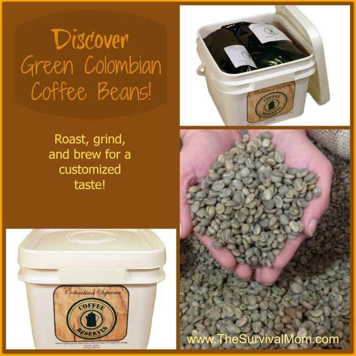 Coffee Reserves GIVEAWAY! Green Columbian Coffee Beans - a 10 lb. bucket! - Survival Mom. Food Storage RecipesGreen Coffee BeansLong Term ... & Coffee Reserves GIVEAWAY! Green Columbian Coffee Beans - a 10 lb ...