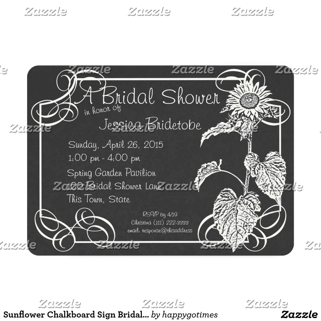 Sunflower Chalkboard Sign Bridal Shower Card Elegant Chalkboard